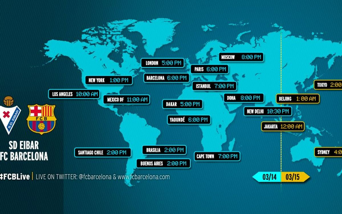 When and where to watch the league game between Eibar v FC Barcelona