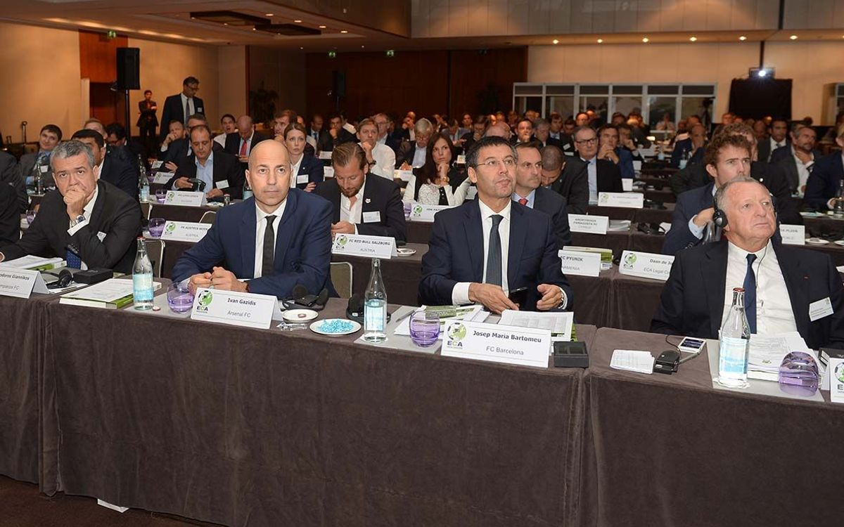 Josep Maria Bartomeu takes part in a meeting of UEFA's Professional Football Strategic Committee
