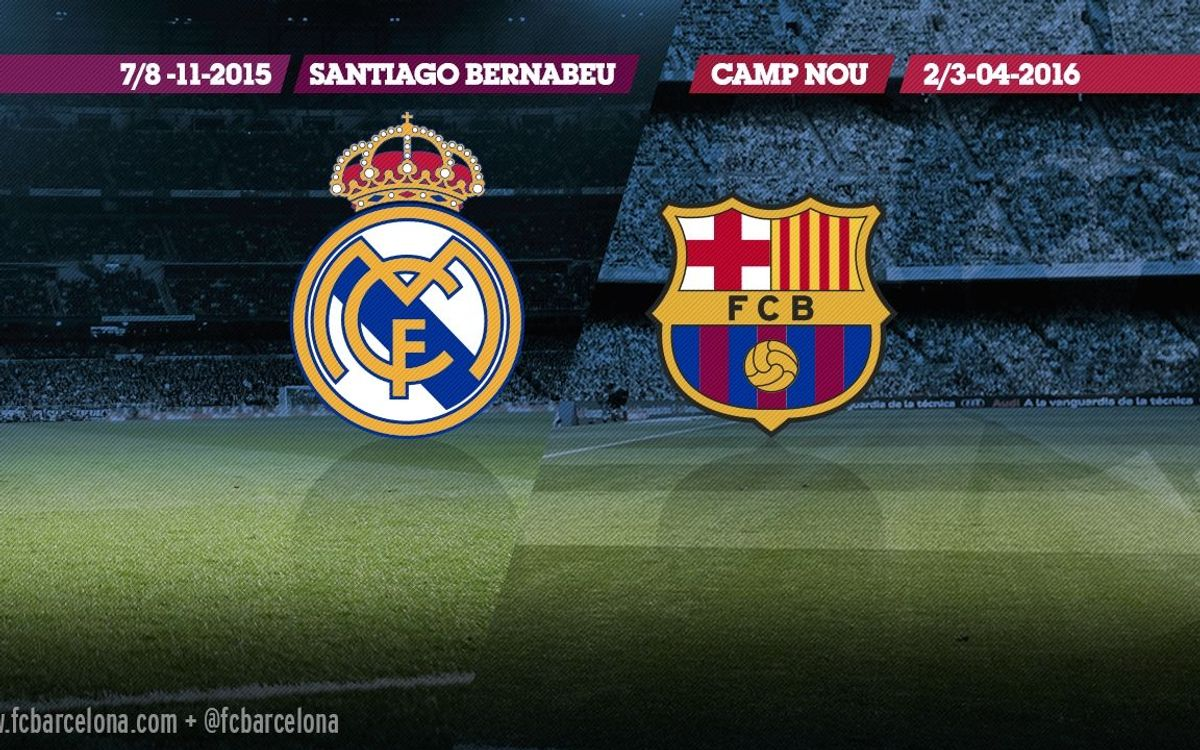 The first 'Clásico' against Real Madrid will be on 7/8 November at the Santiago Bernabéu