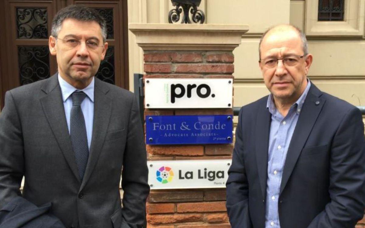 Josep Maria Bartomeu i Manel Arroyo, presents a la inauguració de la seu de la LFP a Barcelona