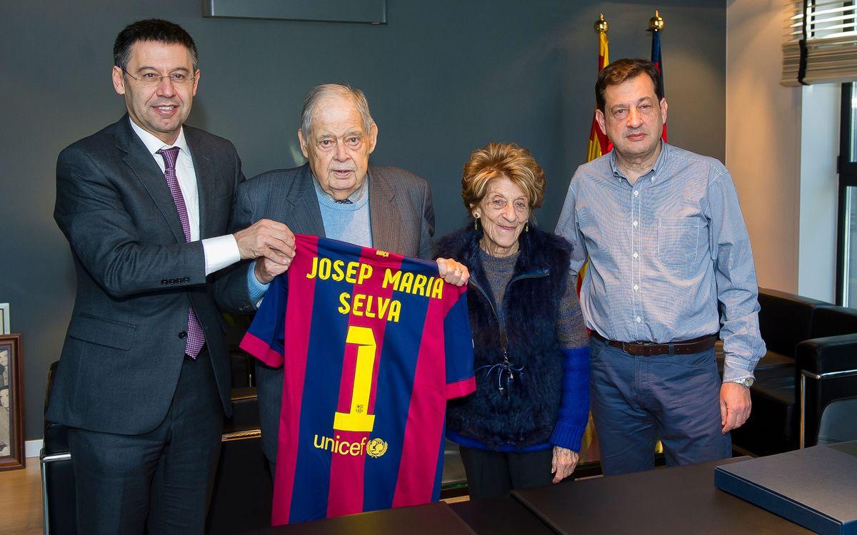 Josep Maria Selva, el soci més antic del Club, rebut pel president Bartomeu