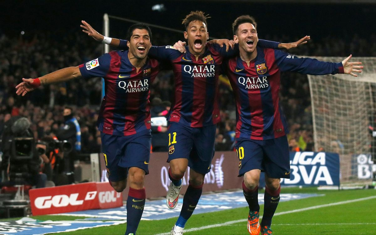 Suárez, Neymar and Messi in an iconic photograph