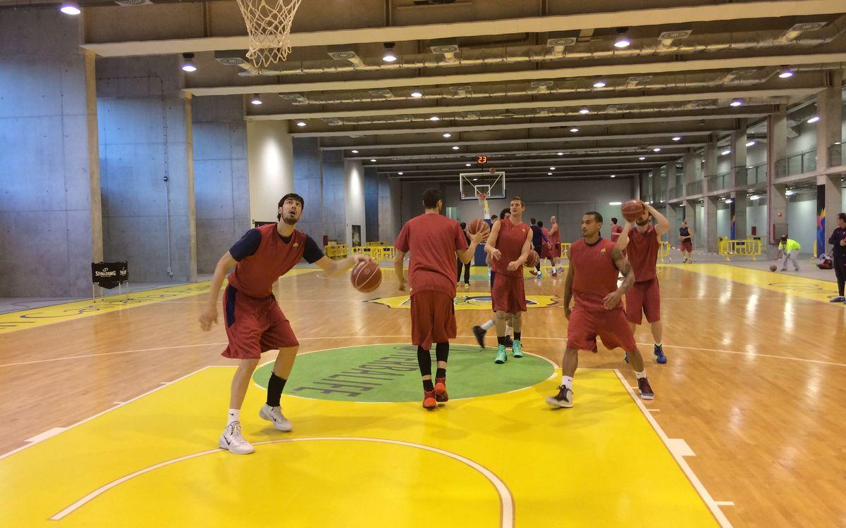 Entrenament previ a la pista annexa del Gran Canaria Arena