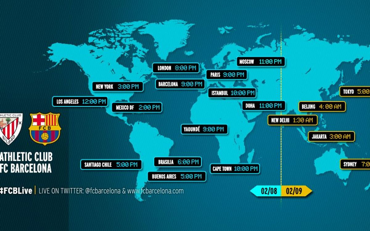 When and where to watch Athletic Club Bilbao v FC Barcelona