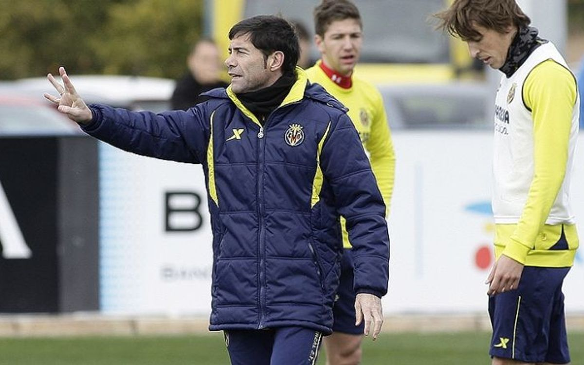 Marcelino in a Villarreal training session / VILLARREALCF.ES