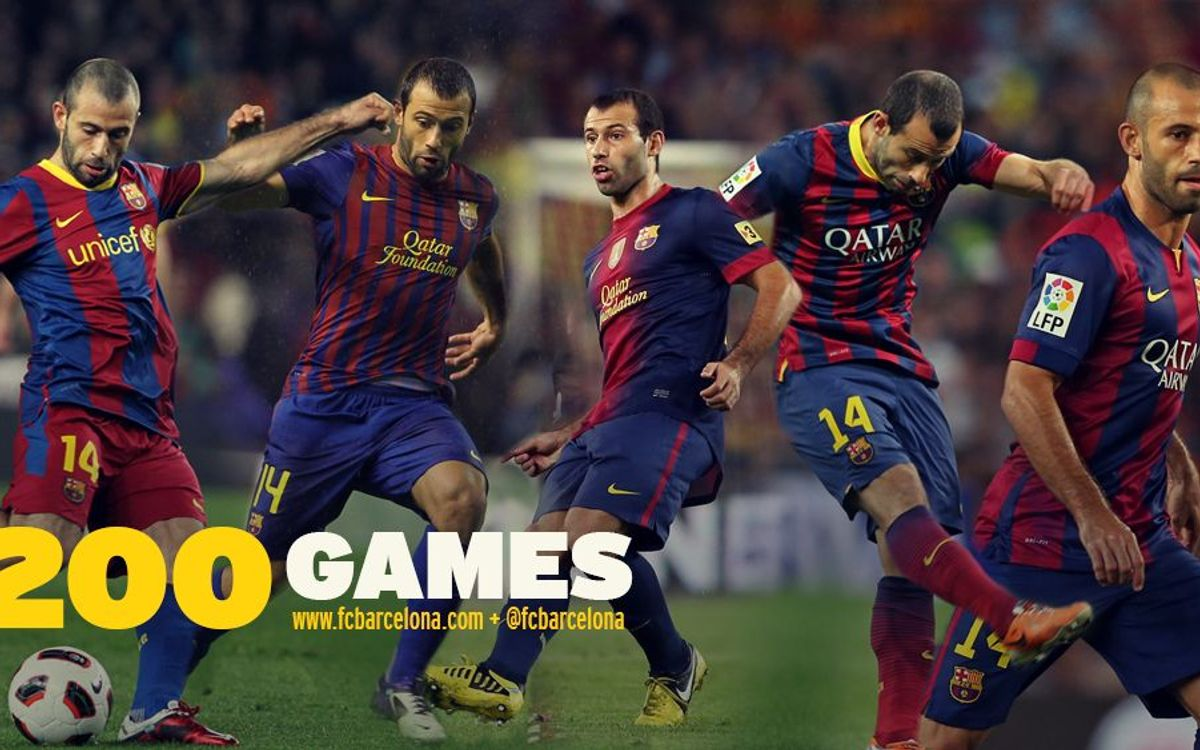 Javier Mascherano reaches 200 appearances with FC Barcelona