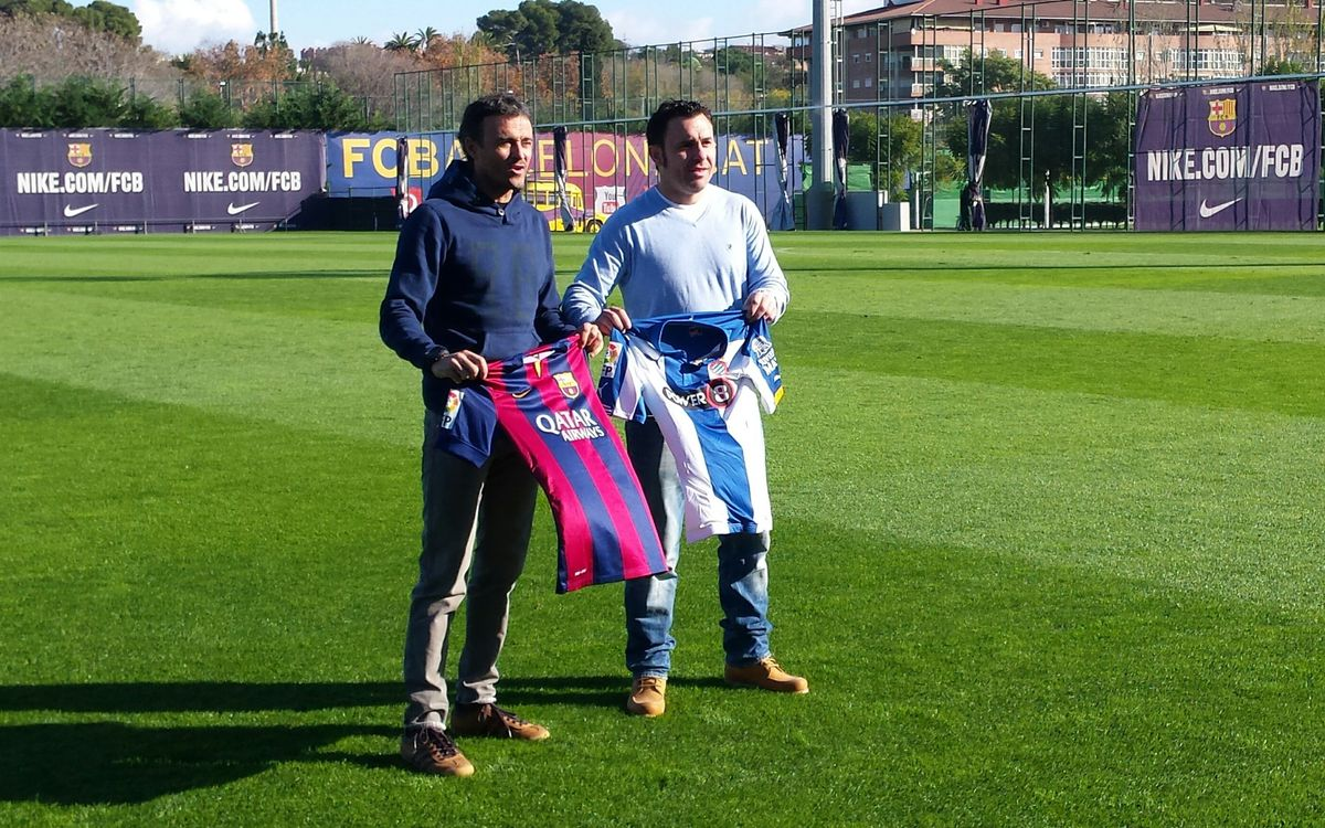 Luis Enrique and Sergio González meet before the derby