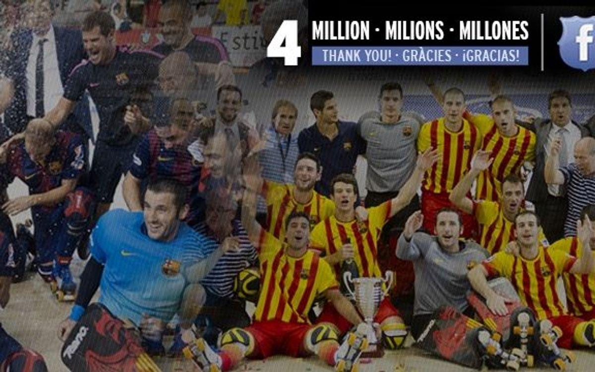 4 milion followers on Facebook