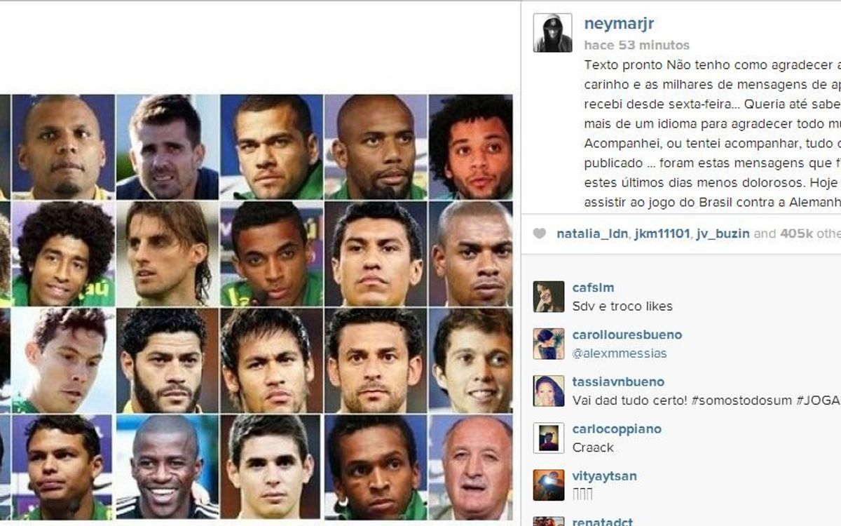 Neymar Jr thanks the world of sport for its shows of support