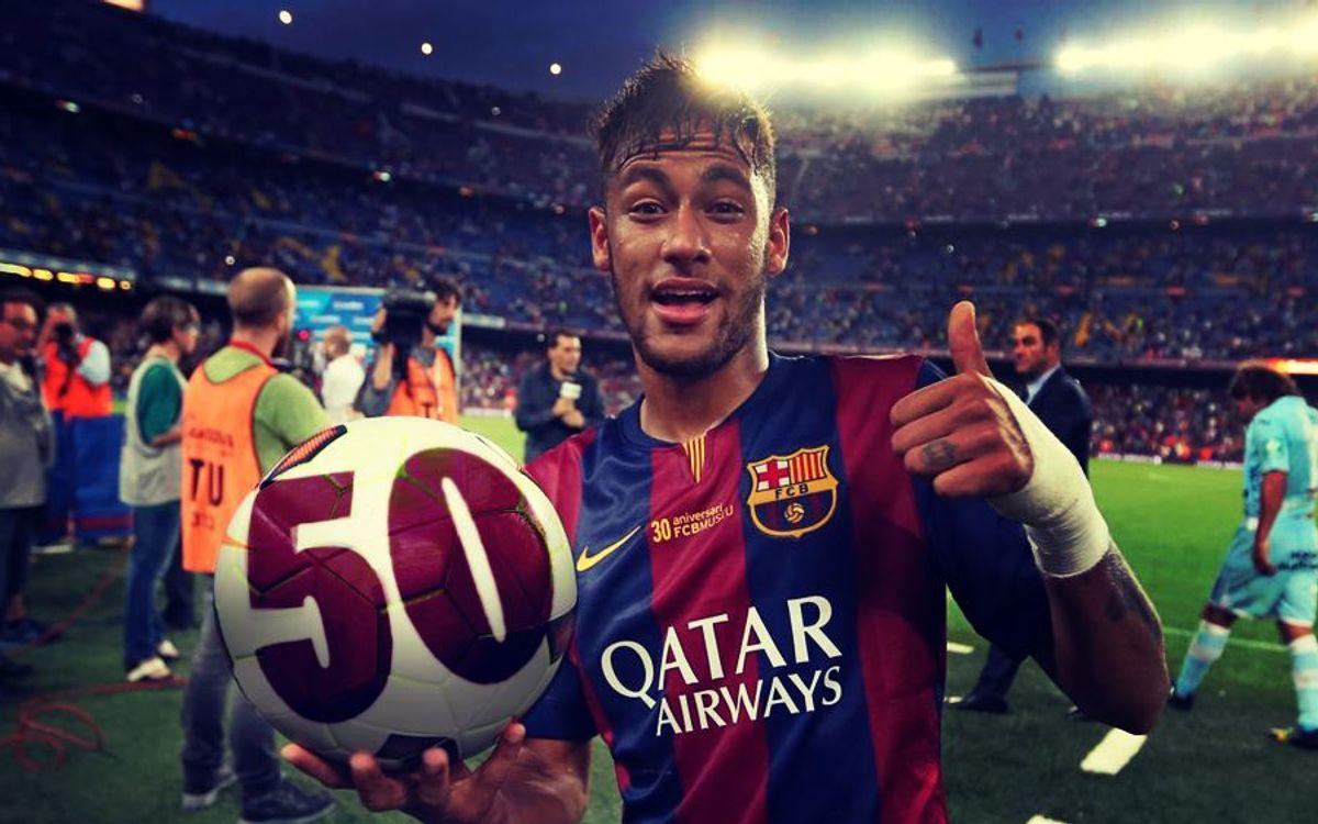 Neymar reaches 50 games for FC Barcelona