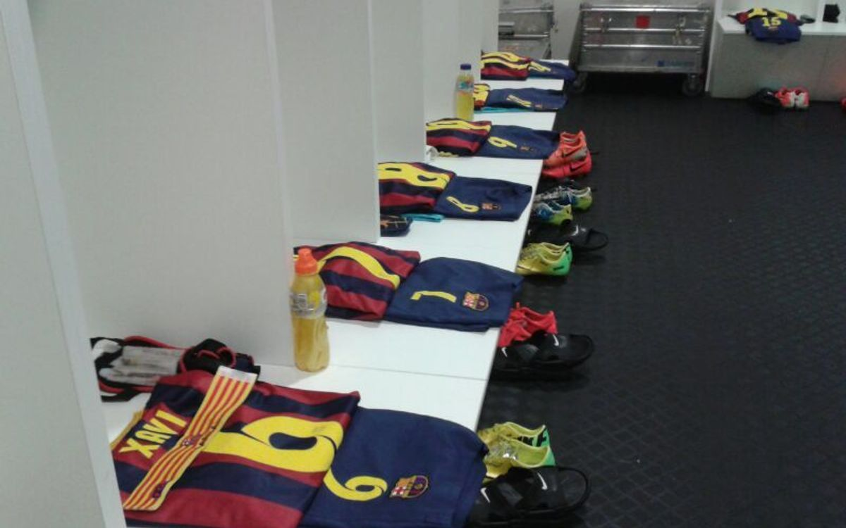 FC Barcelona changing rooms at Elche all ready for the players