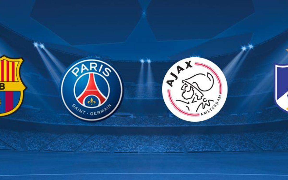 Le FC Barcelone affrontera le Paris Saint-Germain, l'Ajax d'Amsterdam et l'Apoel FC