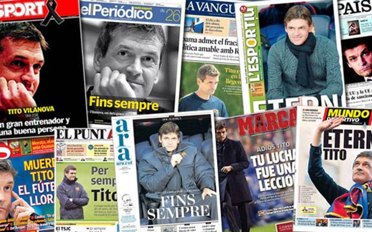 Tito Vilanova, protagonista en la prensa