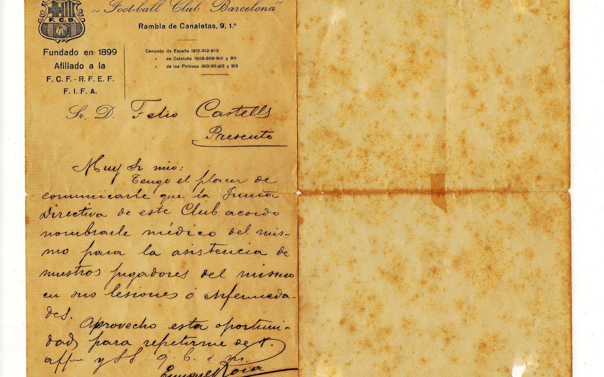 Cien años del nombramiento del primer médico del Barça