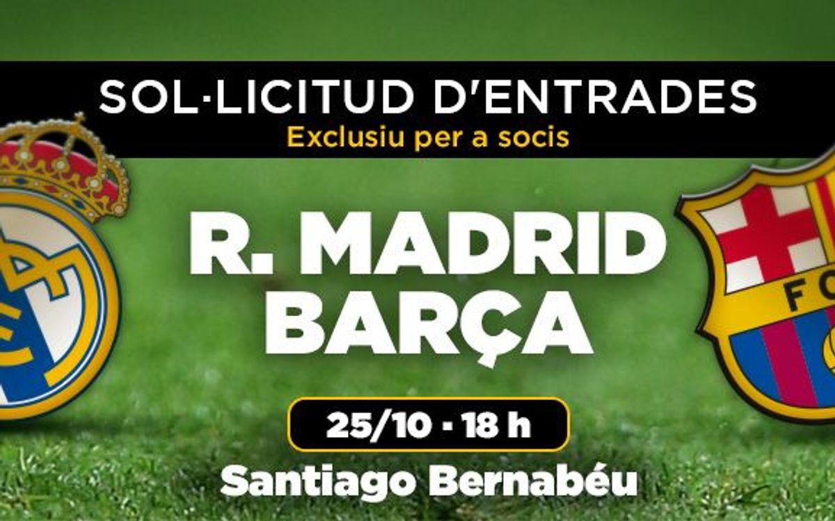 Les entrades per al Reial Madrid – FC Barcelona, a partir del 7 d'octubre