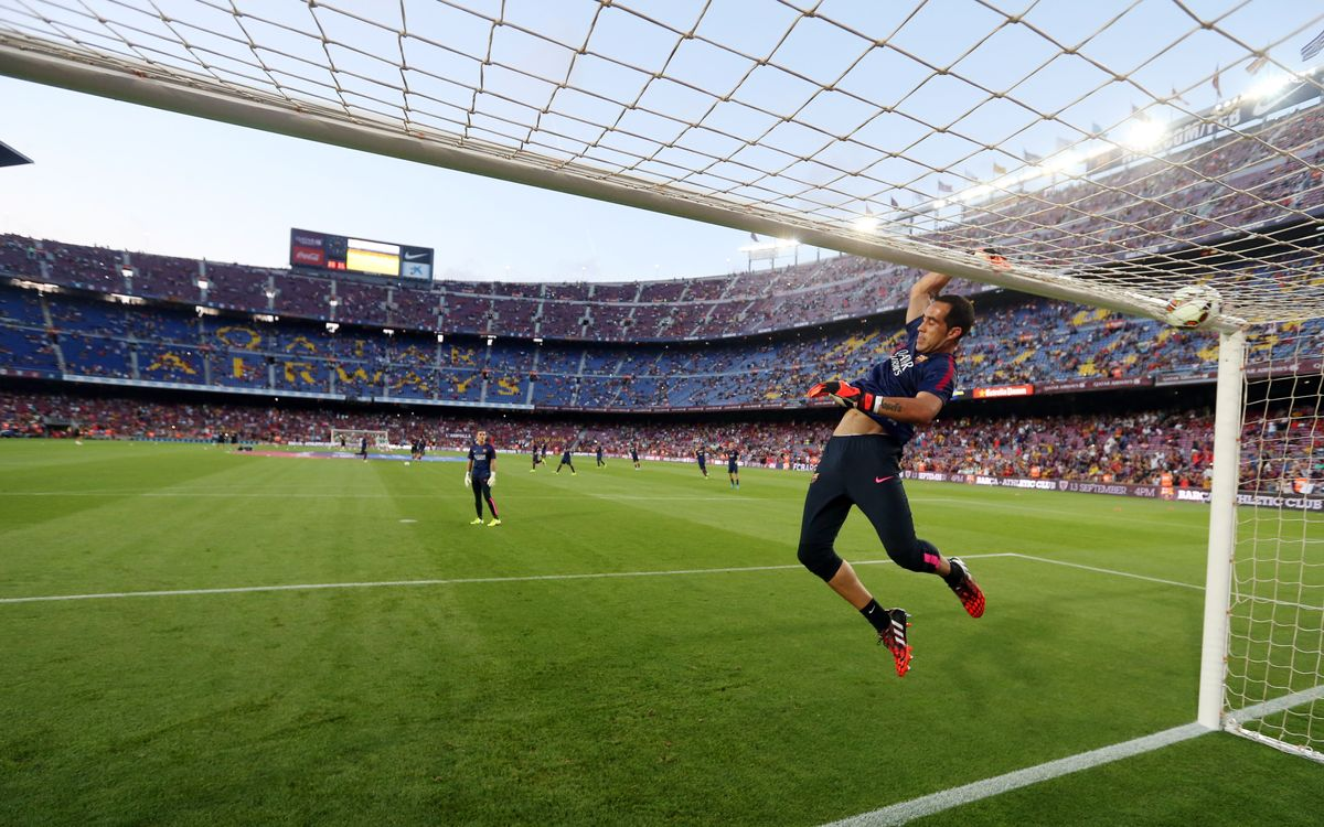Claudio Bravo's first warm-up in La Liga