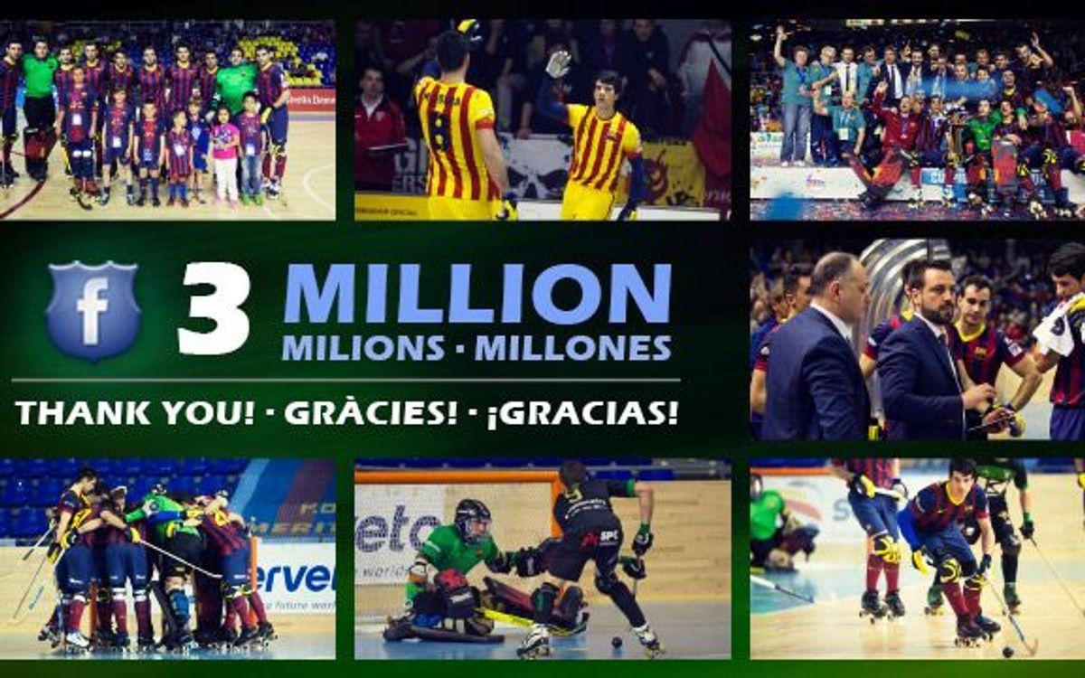 El Barça d'hoquei patins arriba als tres milions de seguidors a Facebook