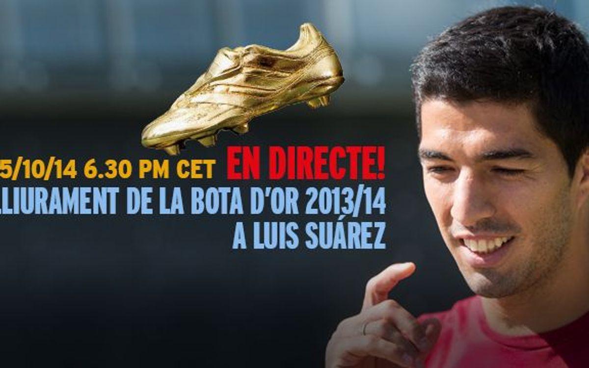 Així ha estat l'entrega de la Bota d'Or a Suárez