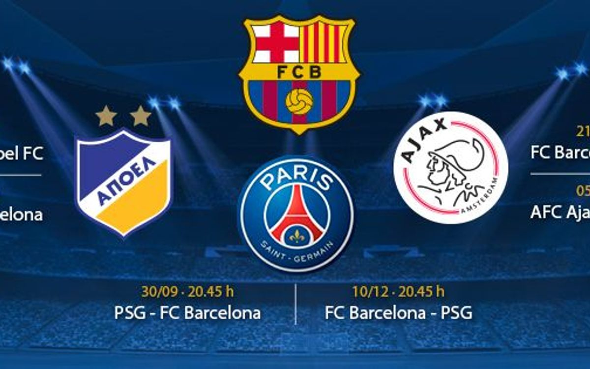 FC Barcelona drawn with PSG, Ajax and APOEL