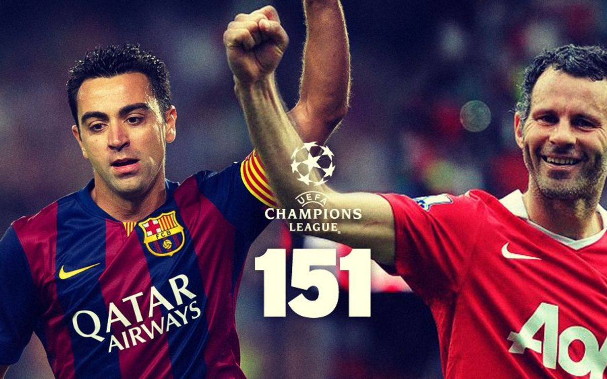 Xavi Hernández draws level with Ryan Giggs on 151 Champions League appearances