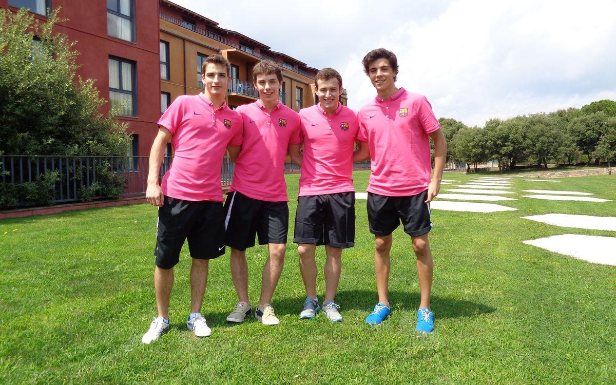 Quatre jugadors de l'hoquei patins formatiu, a El Montanyà