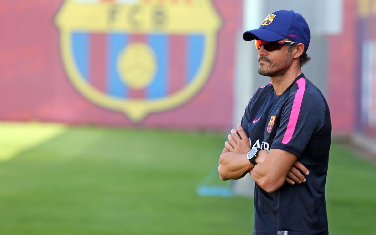 Luis Enrique takes first training session