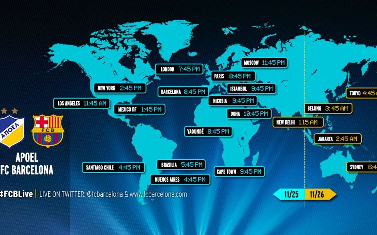 When and where to watch APOEL v FC Barcelona