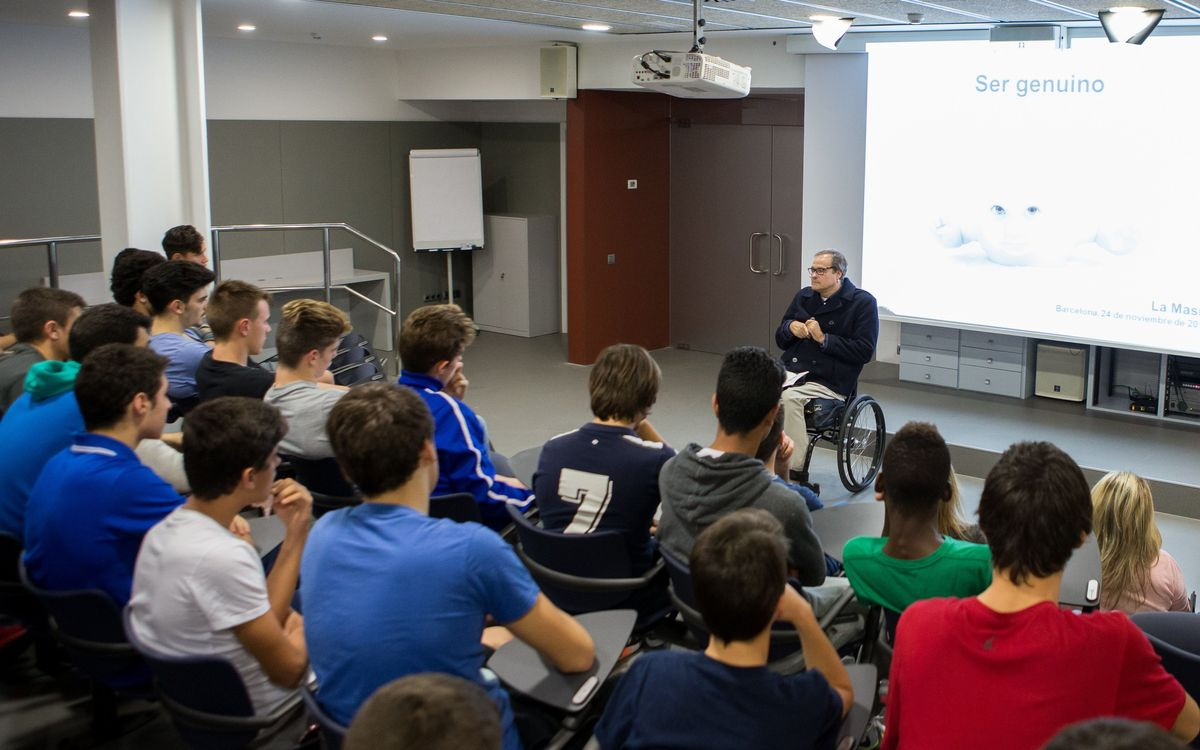 First talk of the season at La Masia