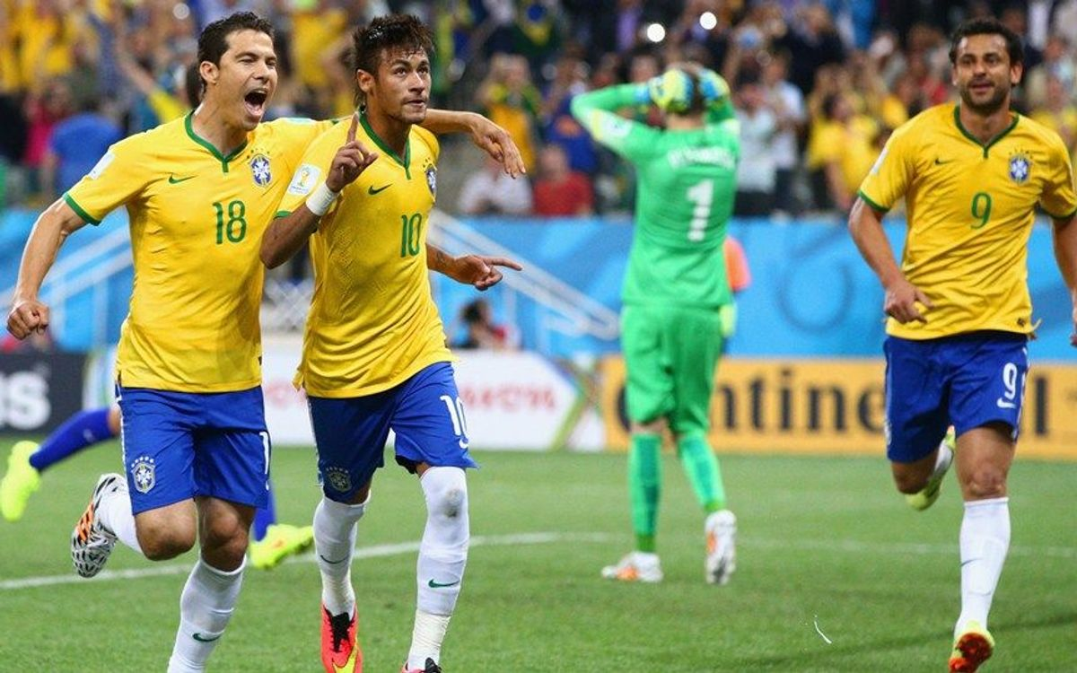 Neymar scores a brace and leads Brazil to victory in the inaugural match of the 2014 World Cup