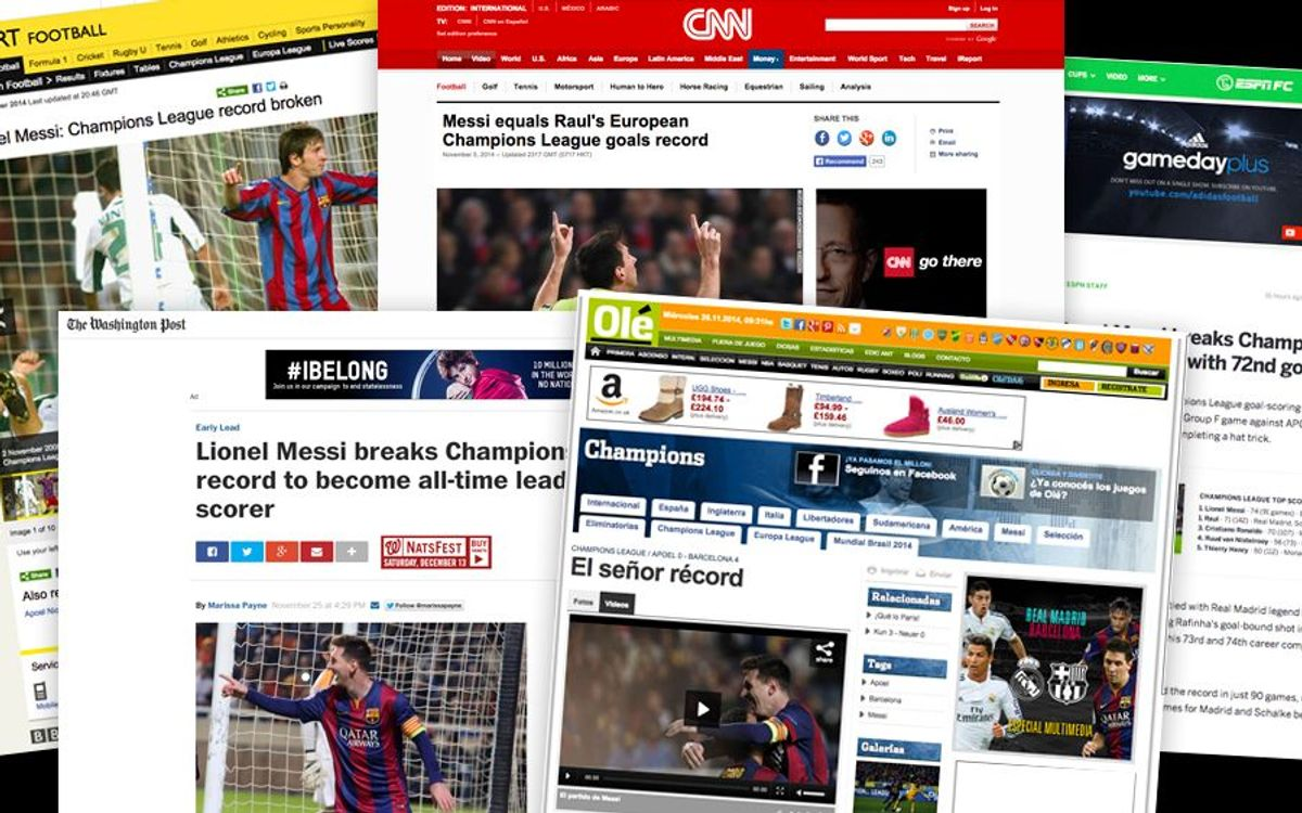 World's media running out of words to describe Messi