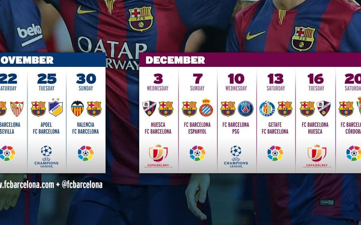 FC Barcelona calendar until 2015: Nine matches in 29 days