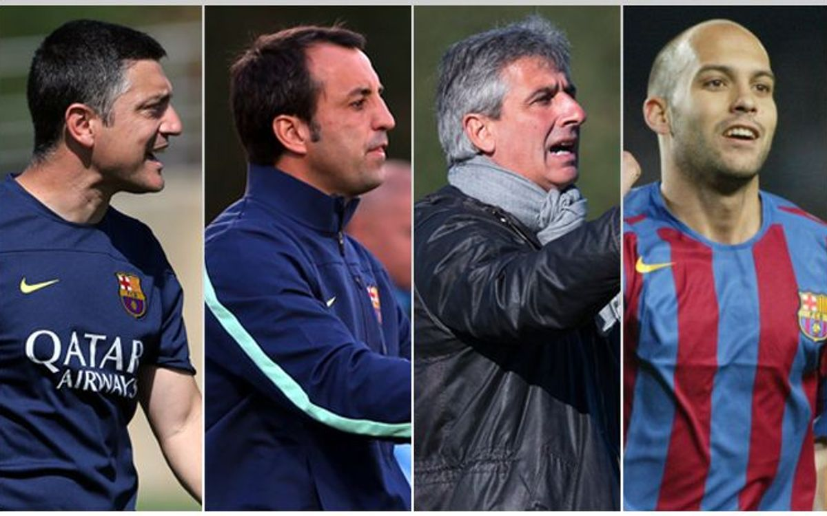 Former players on the FC Barcelona coaching team