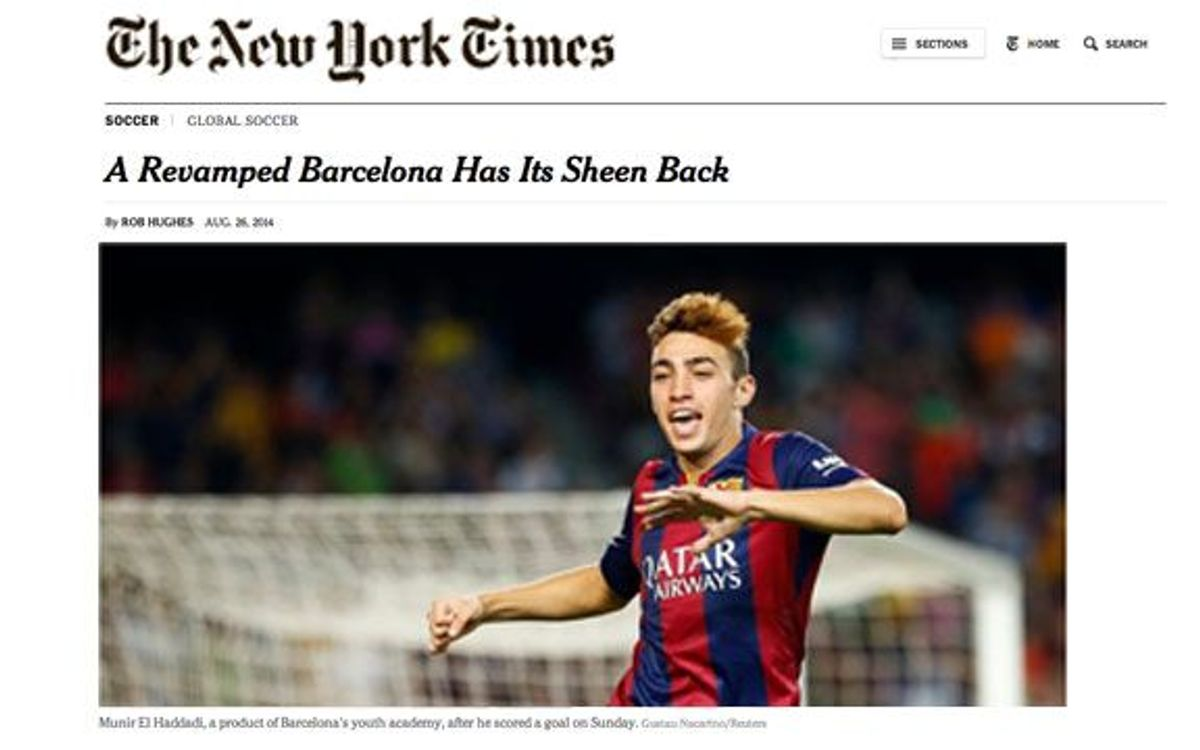FC Barcelona league debut figures in New York Times