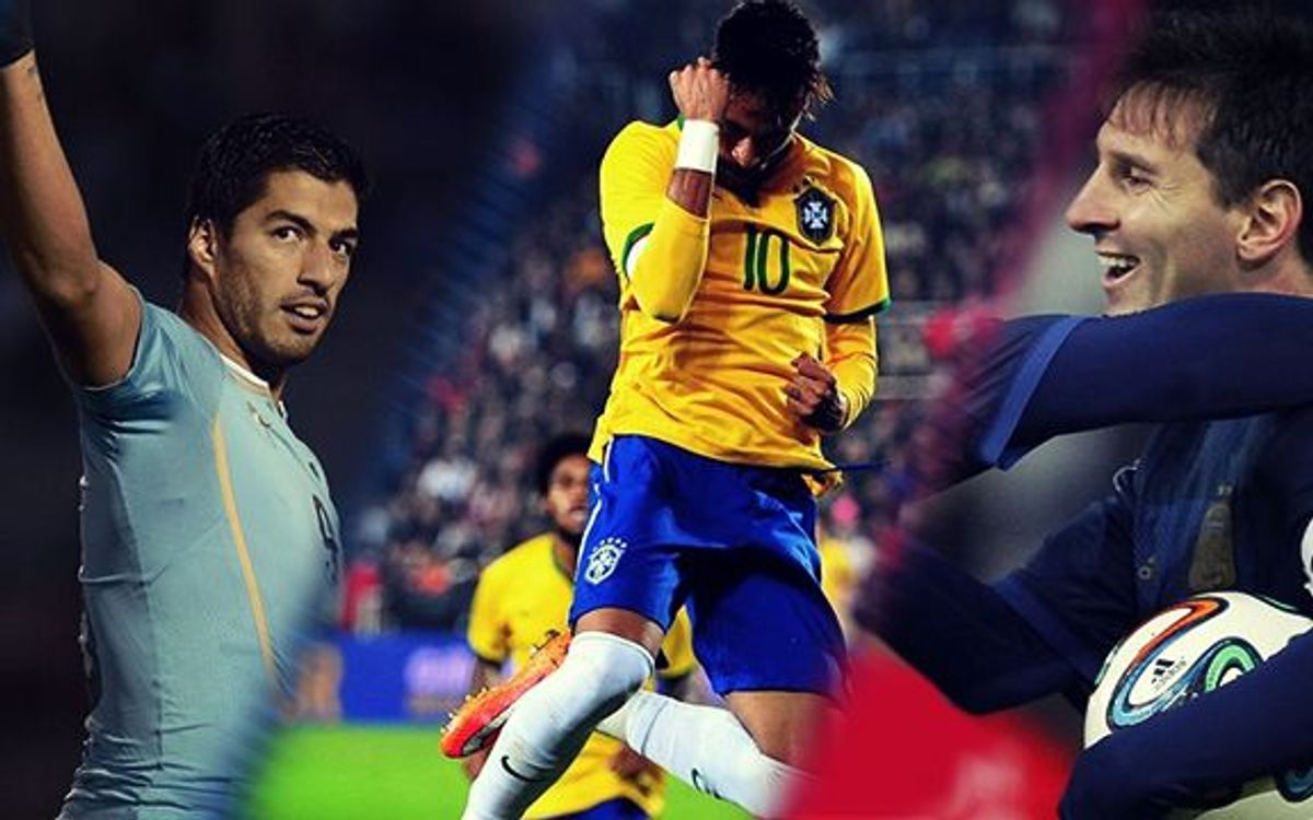 Messi, Neymar and Suárez: International goals all round