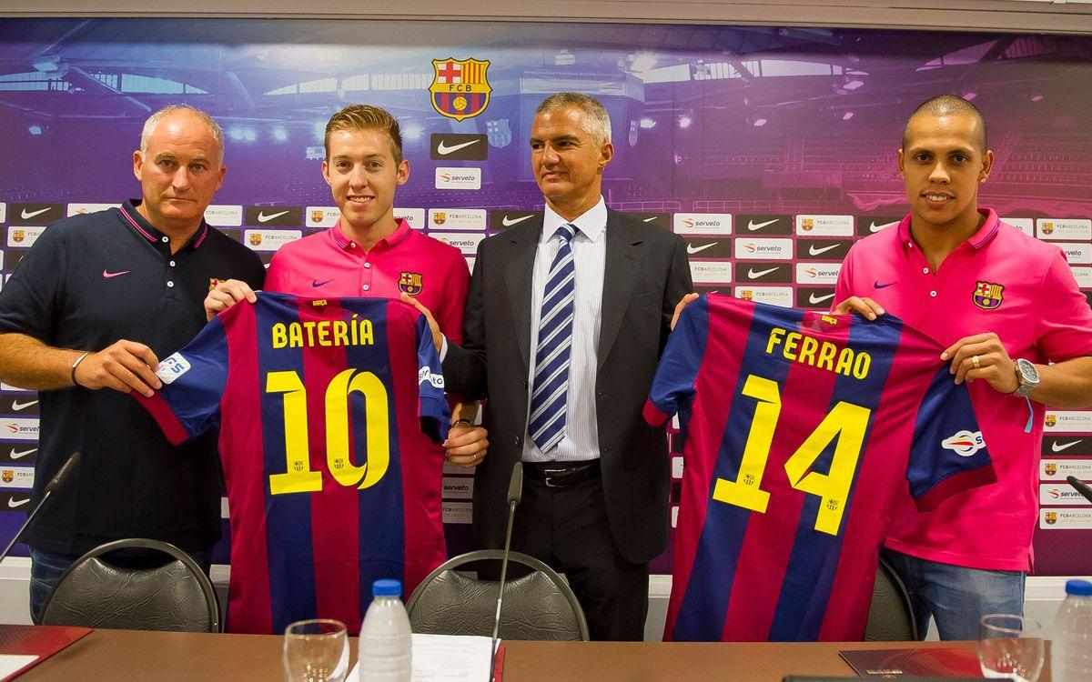 El FC Barcelona de futbol sala ja ha presentat els brasilers Batería i Ferrao
