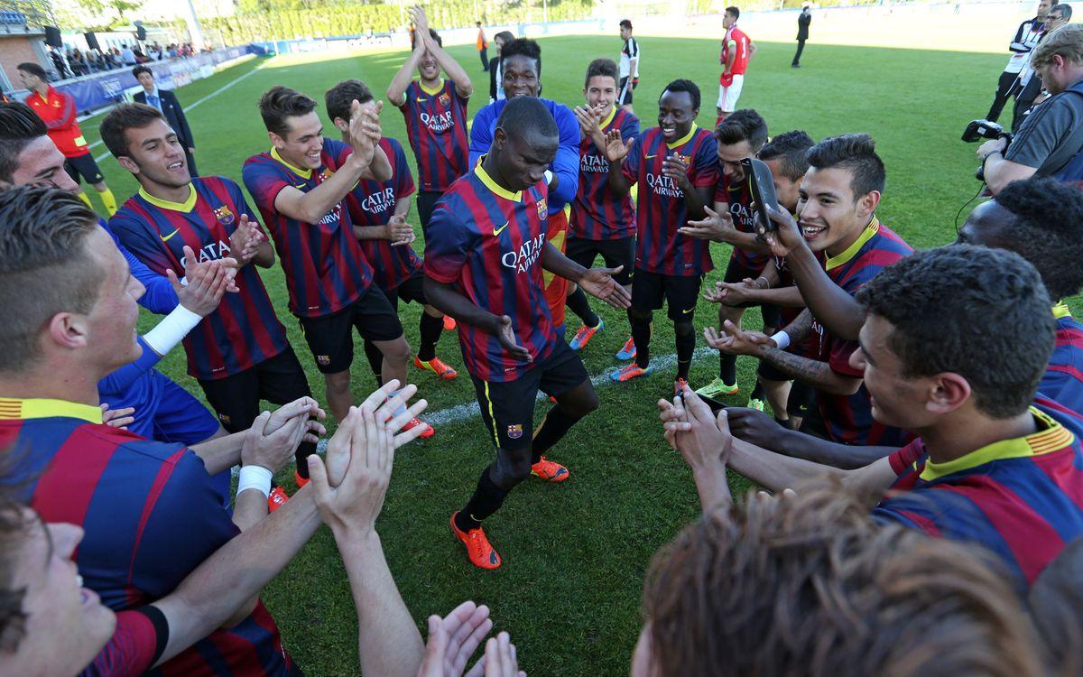 Así fue la celebración de la UEFA Youth League dentro del vestuario