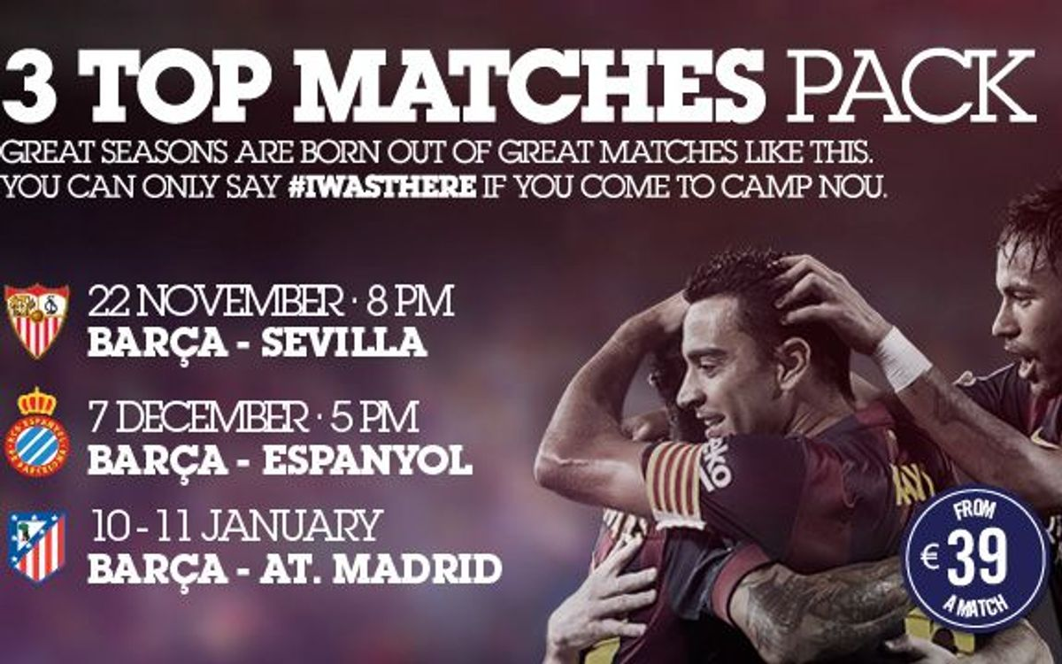 '3 Top Matches Pack': Sevilla, Espanyol and Atlético Madrid from 39 euros