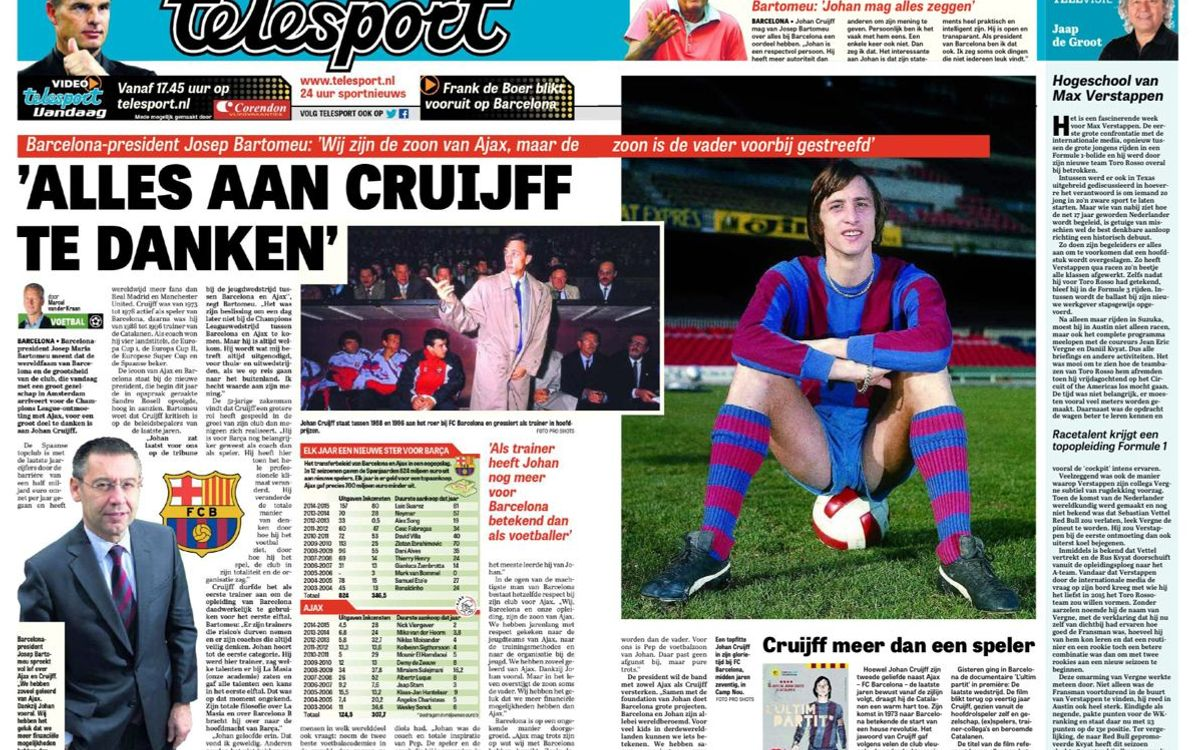 President Bartomeu, interviewed by Dutch daily 'De Telegraaf'