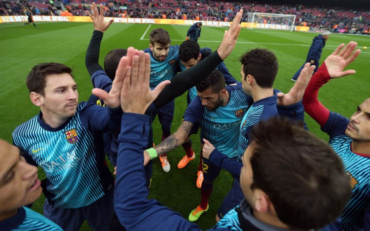 Barça warm-up before the game against Rayo