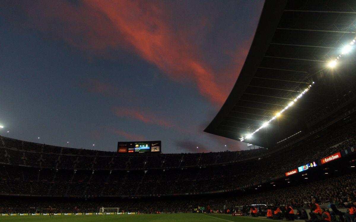 El Camp Nou estrena un missatge de benvinguda global