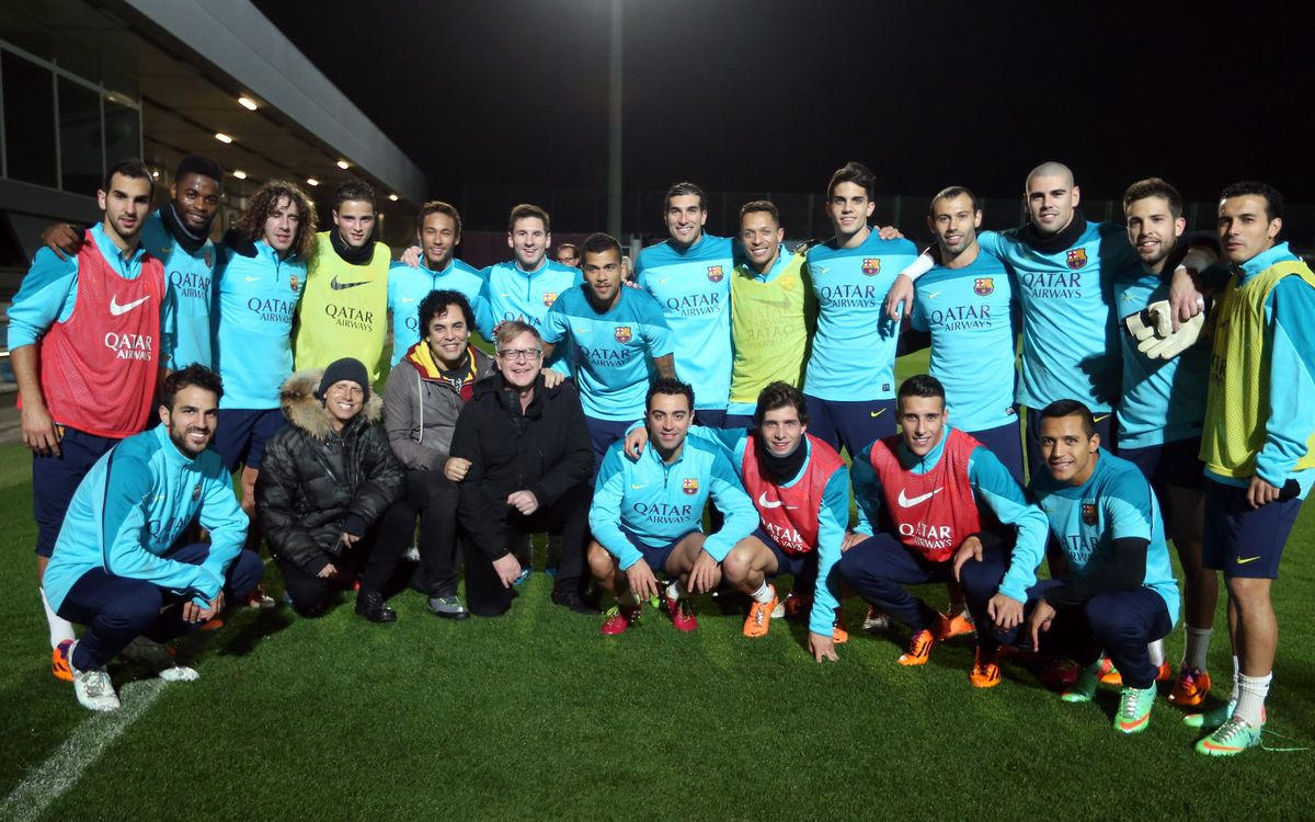 Depeche Mode visit FC Barcelona's training session
