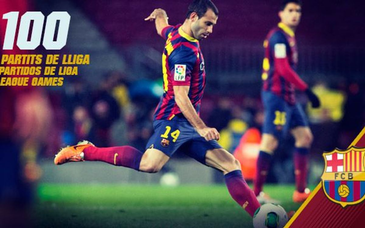 Javier Mascherano makes his 100th appearance for FC Barcelona in La Liga