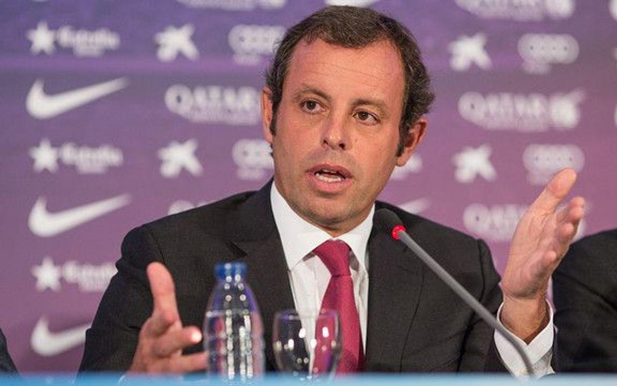 Sandro Rosell démissionne et Josep Maria Bartomeu assumera la fonction de Président jusqu'en 2016