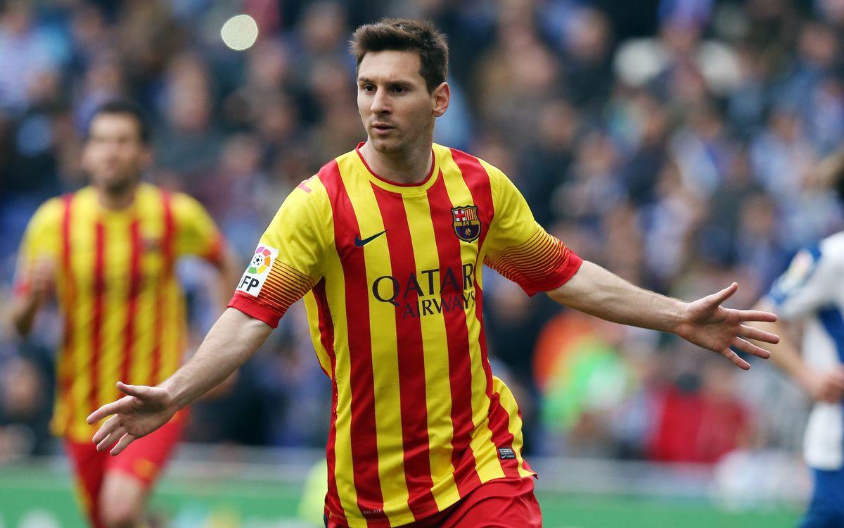 Messi's first goal at Cornellà-El Prat