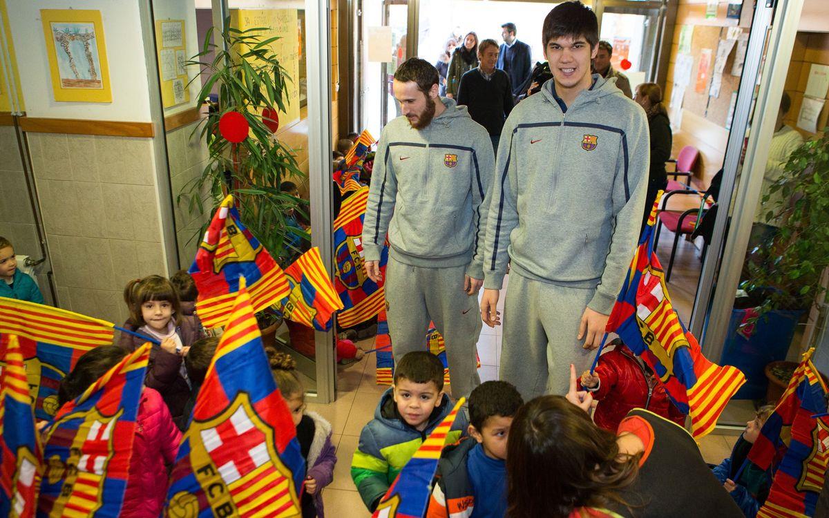 Huertas, Todorovic i Pullen fan les delícies dels alumnes de l'escola Bon Pastor