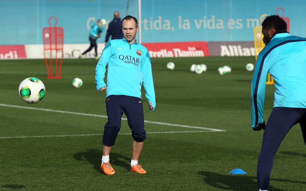 Iniesta has fun with the ball
