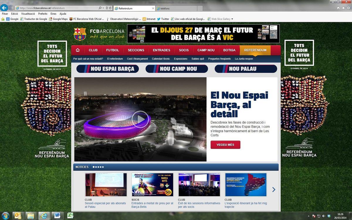 Uso masivo del microsite del Referéndum del Nuevo Espai Barça
