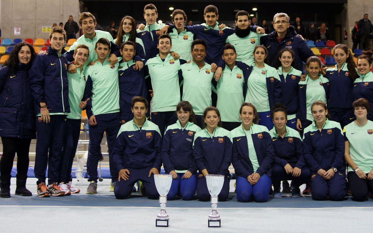 El FC Barcelona, campió de Catalunya masculí i femení en sub-20 a pista coberta