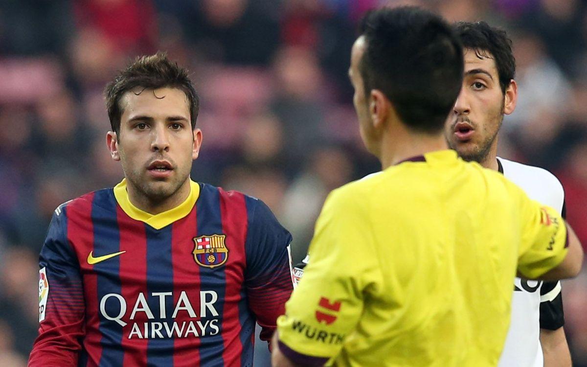 Al·legacions a l'acta arbitral per l'expulsió de Jordi Alba