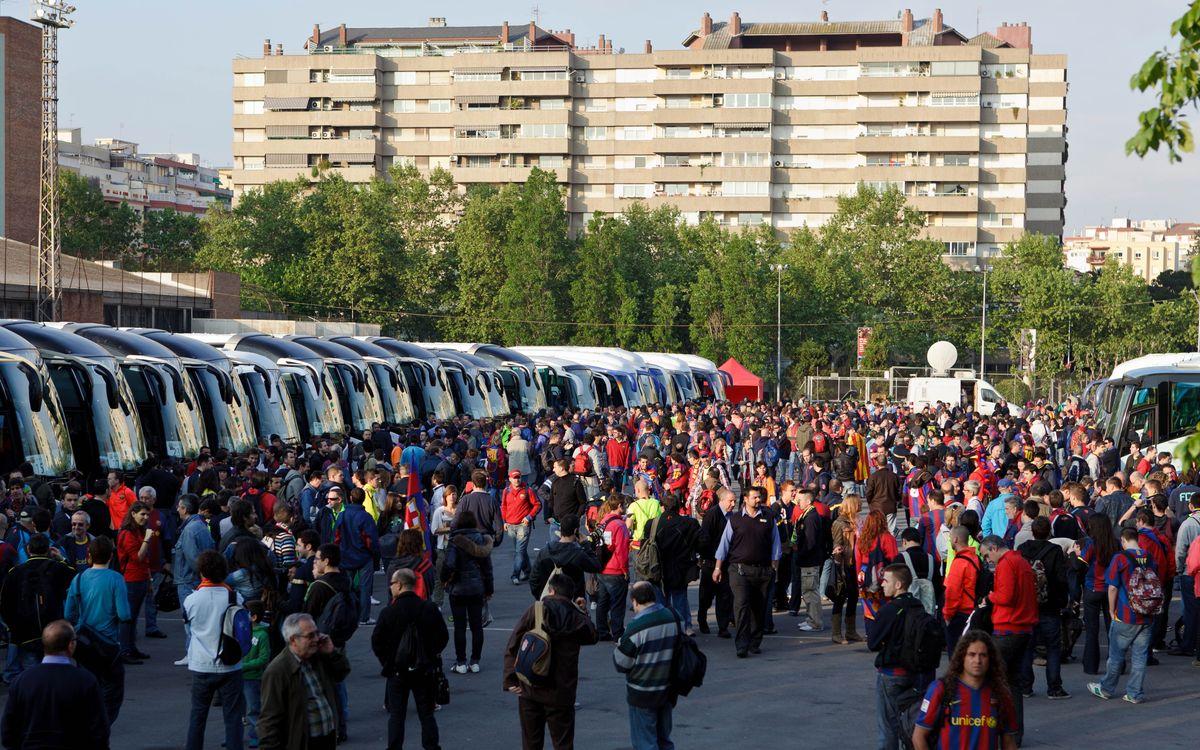 El FC Barcelona ofereix opcions de viatge amb tren i autocar per a la final de la Copa del Rei